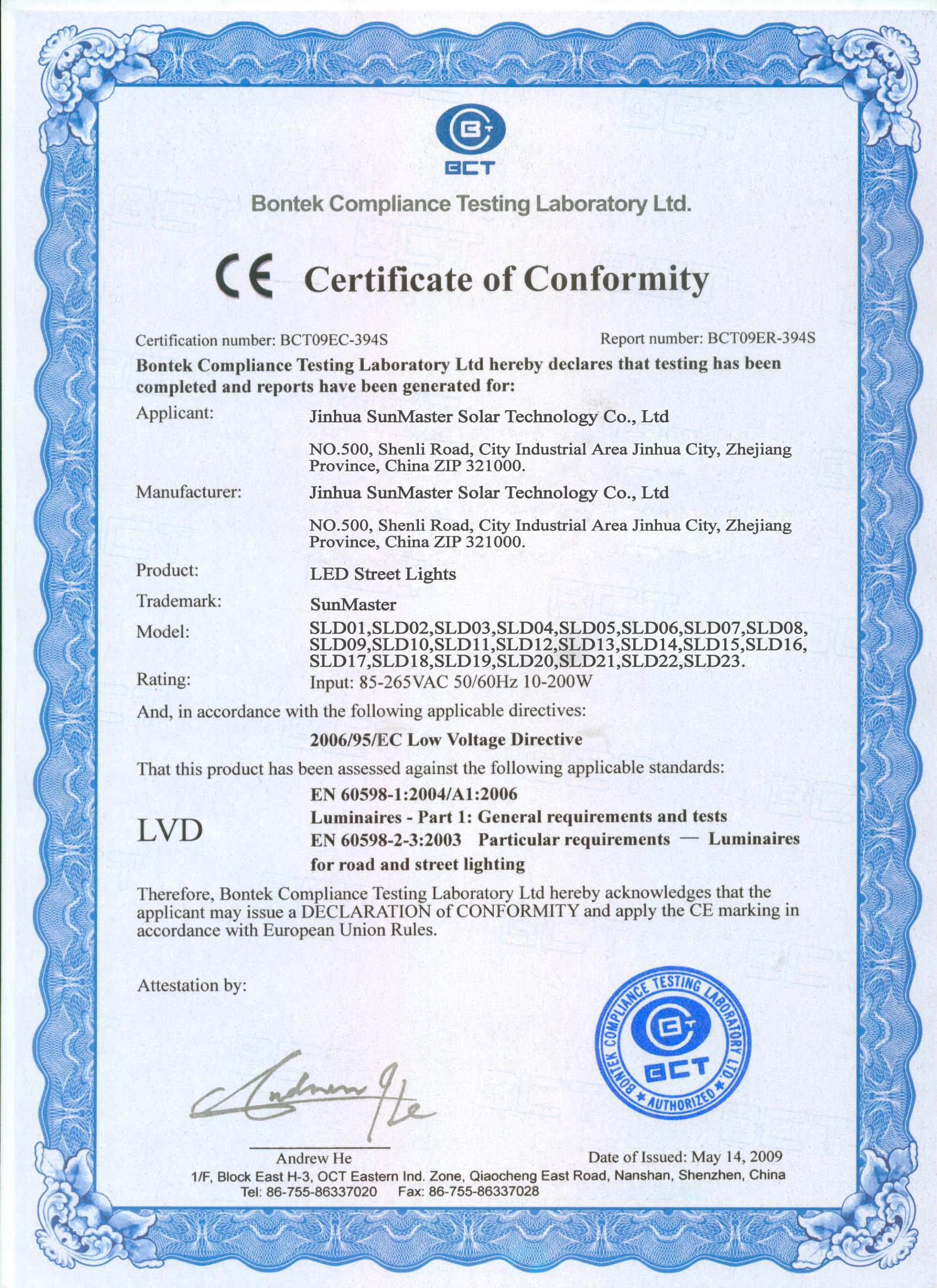 03-CELVD-Of-LED-Street-Lights Certificados Sistemas de Iluminación Solar SunMaster