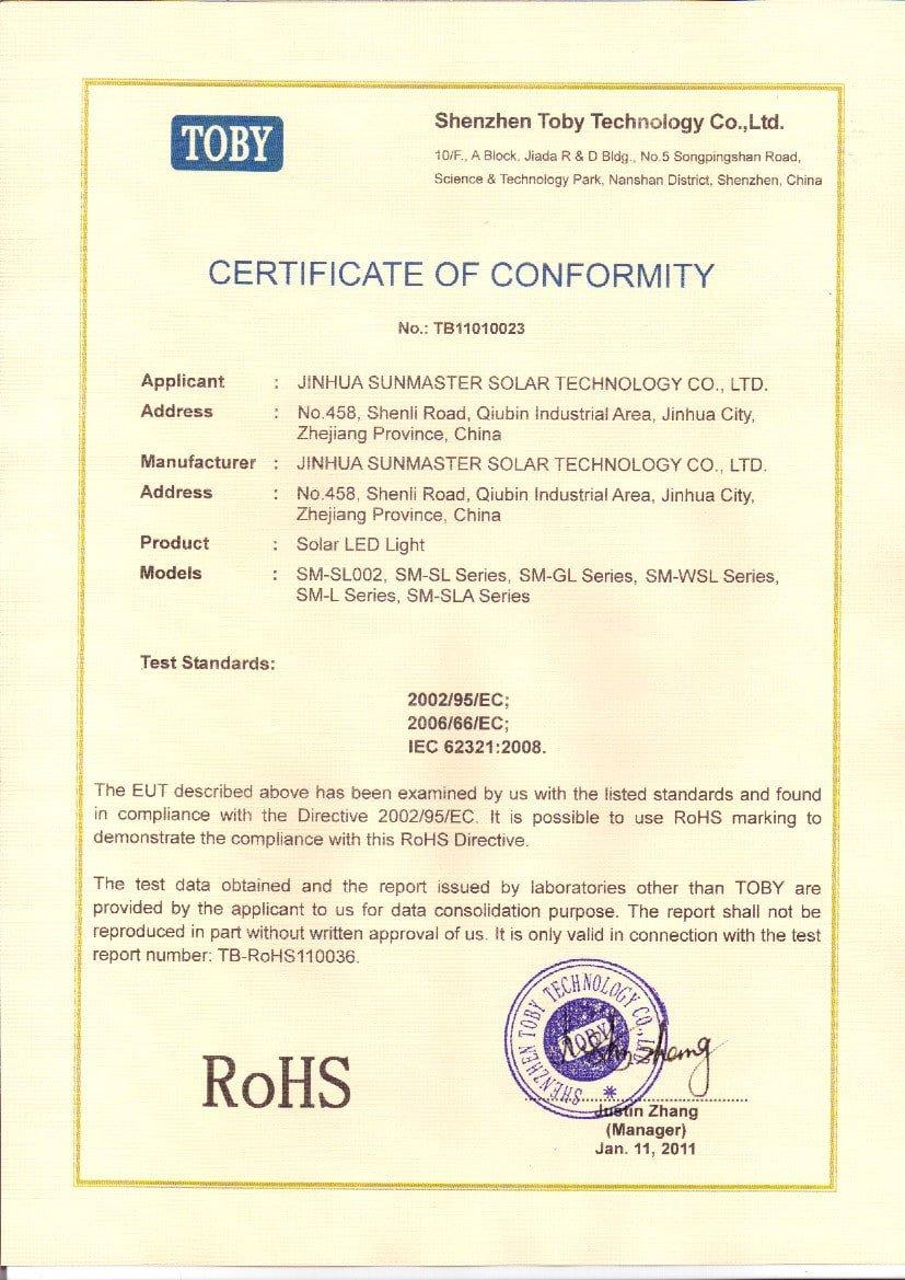 RoHS-solar-light Certificados Sistemas de Iluminación Solar SunMaster