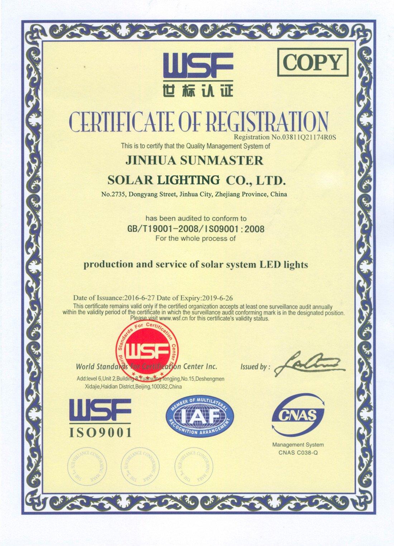 2017-Sunmaster-ISO-9001 Certificados Sistemas de Iluminación Solar SunMaster