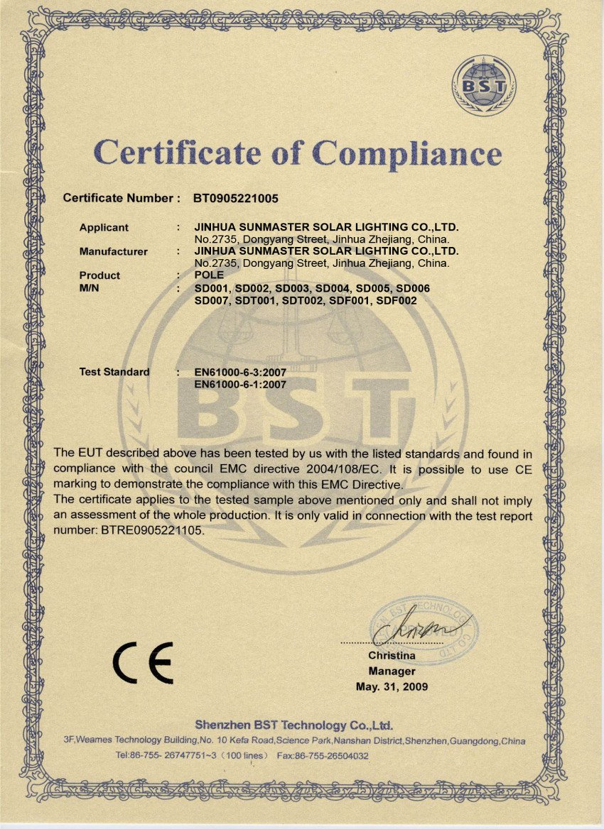 Sunmaster-CE-Pole Solar lights certificates